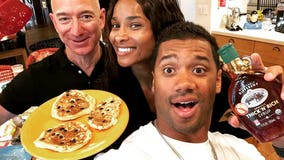 Jeff Bezos makes pancakes with Russell Wilson and Ciara