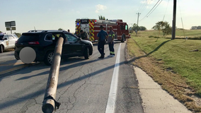 Pole impales SUV after coming loose along Missouri highway
