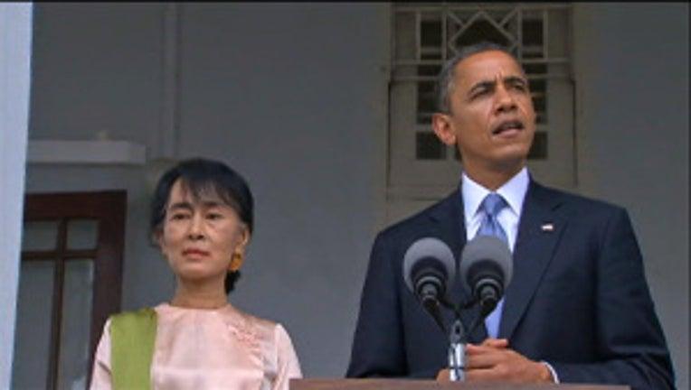 President Obama speaks at Aung San Suu Kyi's home