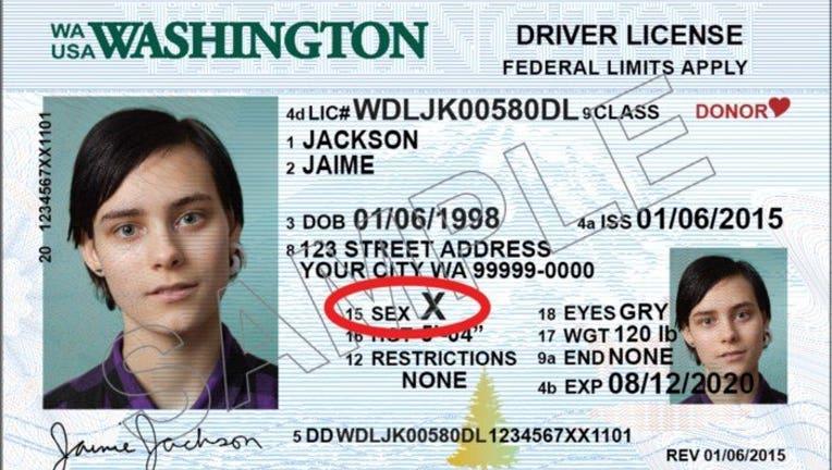 Washington Gender X license