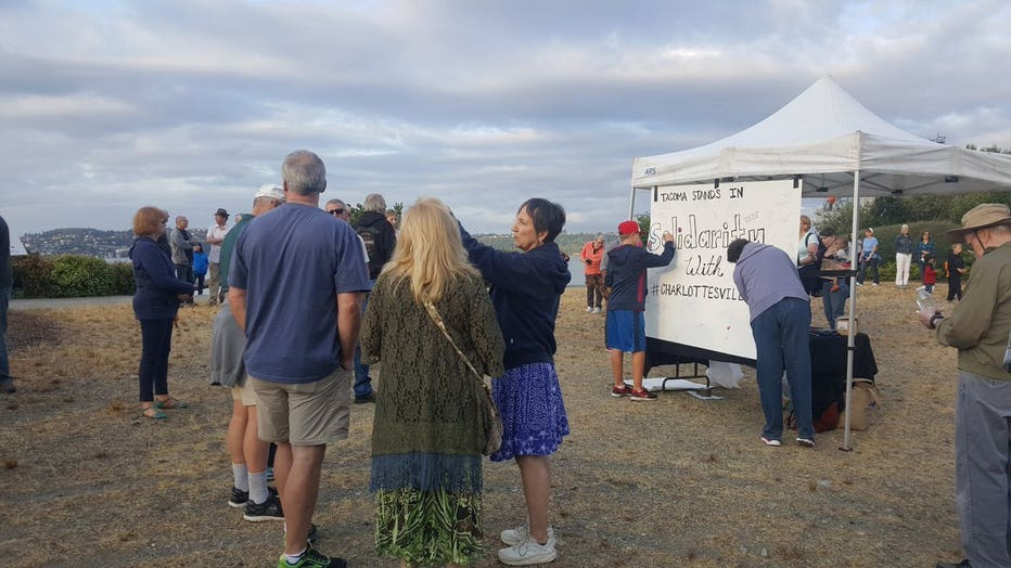 Peaceful Rally in Tacoma for Charlottesville victims