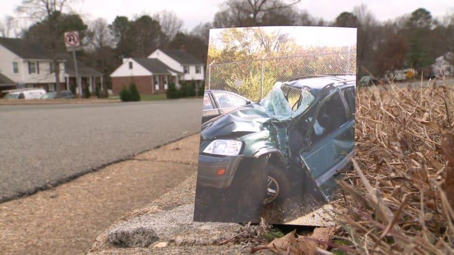 A photo shows Ryan's car near where the crash happened.