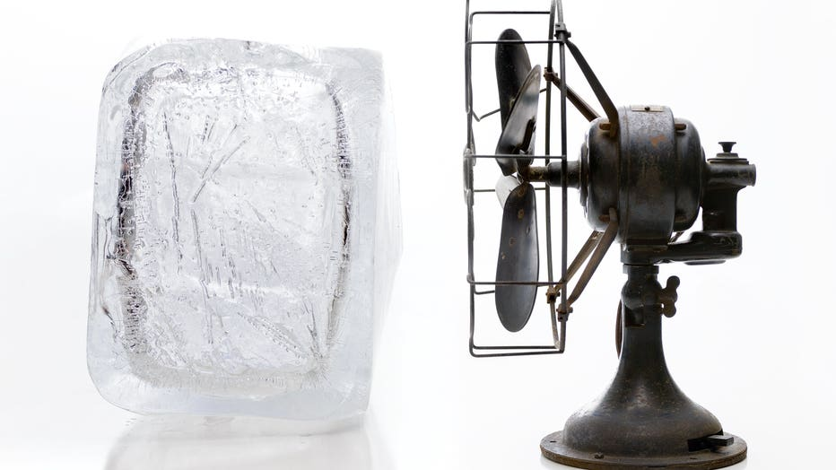 Block of Ice and Old Fan Air Conditioner