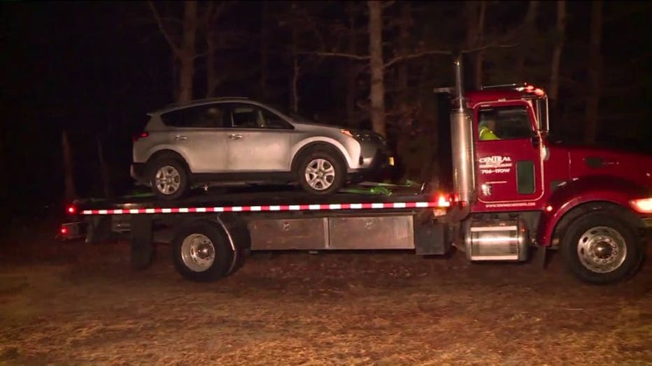 Briley's SUV being towed from the scene.