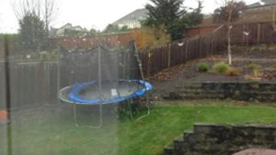 trampoline in yard