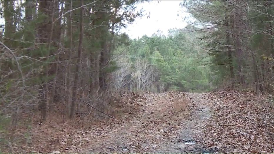 A man walking his dog discovered Barbara Briley and La'Myra Briley on this dirt road deep in the woods in Dinwiddie County.