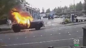 Bellevue Police on the hunt for arsonist who torched truck