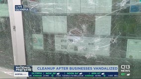 Cleanup underway in Olympia after businesses, government buildings vandalized