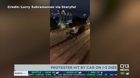 One dead and one still hospitalized after car crashes into protesters on I-5