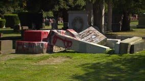Confederate monument toppled, destroyed in Seattle cemetery