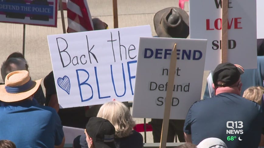 Large rally supporting Seattle Police ahead of City Council budget vote