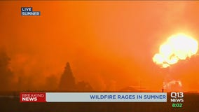 Explosion of fire caught on camera during live Q13 News report