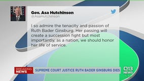 Politicians react to death of Justice Ruth Bader Ginsberg