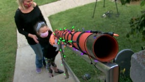 Dad creates candy chute so kids can trick-or-treat while socially distancing this Halloween