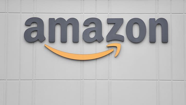 The logo of online retail giant Amazon is seen on March 30, 2020 at a distribution center.