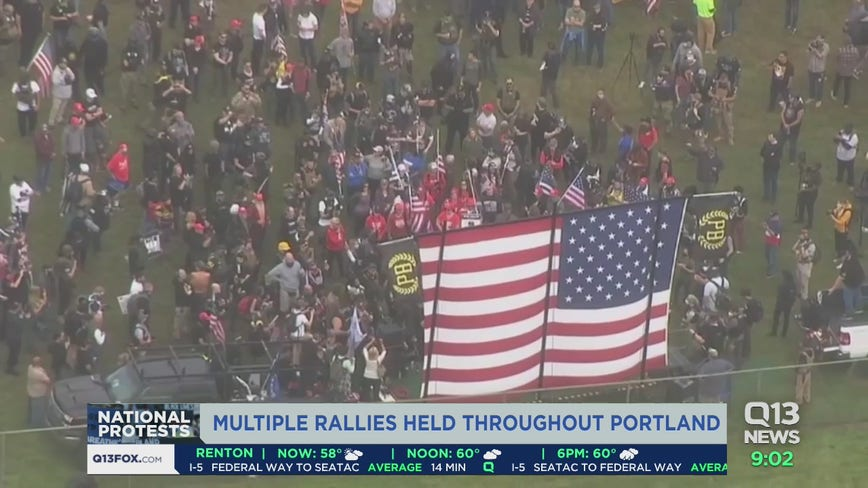 Portland largely peaceful after opposing rallies