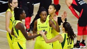 Stewart, Bird help Storm rout Aces; go up 2-0 in WNBA Finals