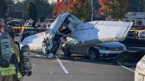 Small plane crash lands in Pierce County parking lot