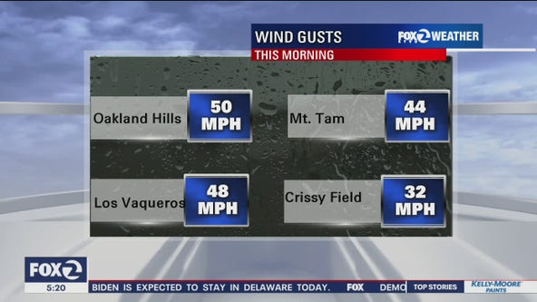 Winds gust up to 89 mph north of San Francisco on Mount St. Helena