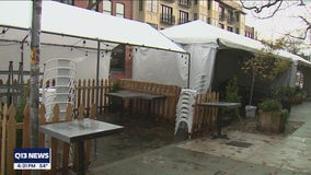 Seattle businesses tightly secure outdoor seating tents ahead of windy weather