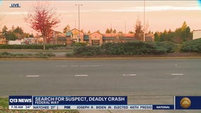 Suspect sought after man crossing highway hit by 2 vehicles and killed