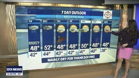 Scattered showers Tuesday, drier conditions by Thanksgiving