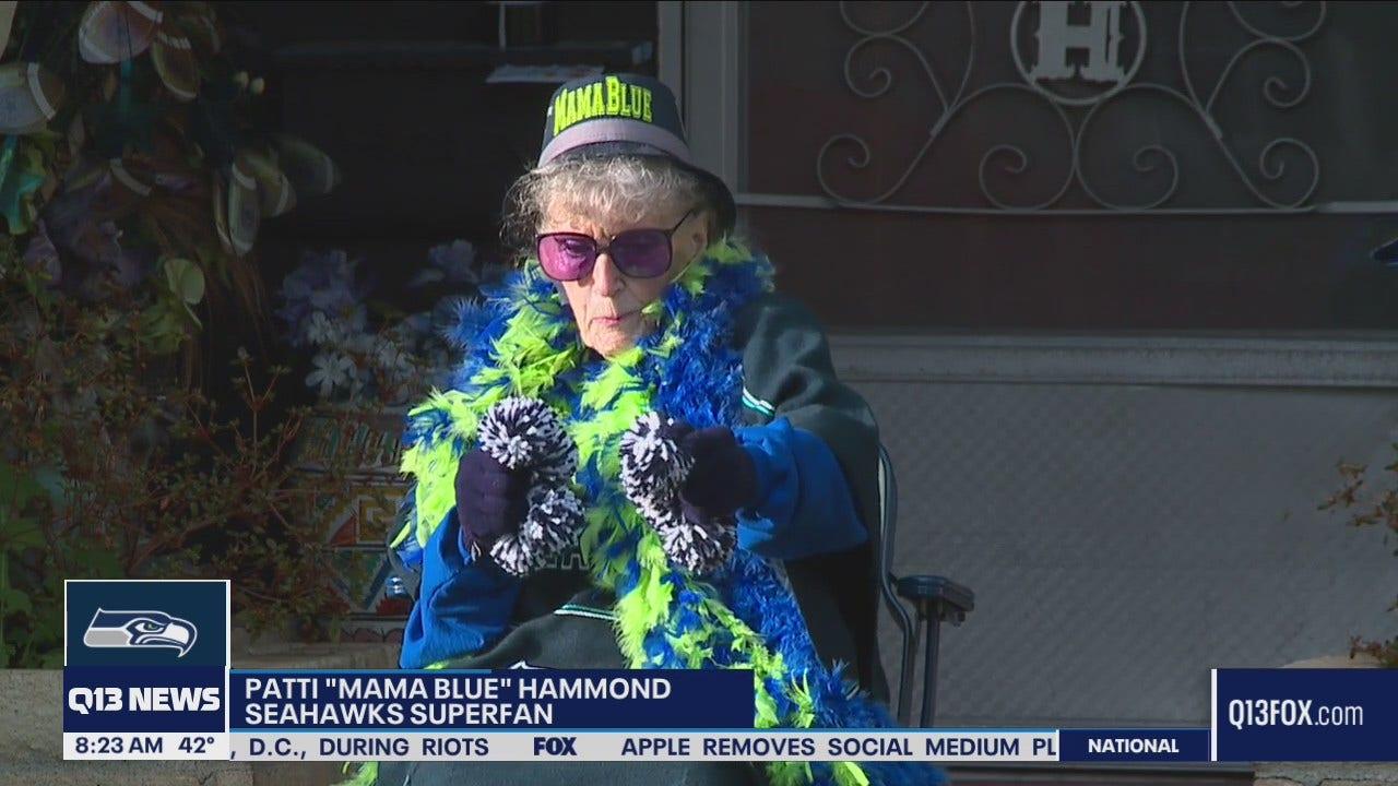 Seahawks Fan of the Year Mama Blue celebrates 90th birthday - Q13 FOX (Seattle)