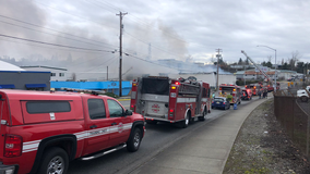 Crews battle two-alarm fire at commercial warehouse in Tacoma