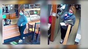 Listen to voice, help ID pregnant conwoman who slyly robbed Subway store by posing as corporate manager