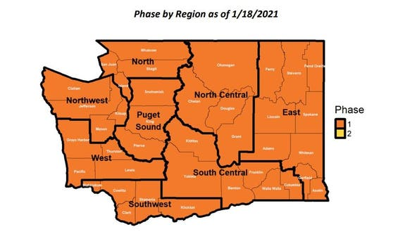 Entire state of Washington to remain in Phase 1 of new COVID-19 plan through Jan. 25