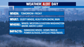 Weather Alert Day Thursday due to gusty winds and heavy mountain snow