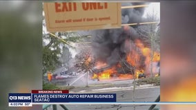 SeaTac auto shop fire that caused heavy black smoke put out