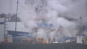 Crews continue to monitor commercial fishing ship in Port of Tacoma after vessel erupted in flames