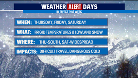 Weather Alert Days: Frigid temps and potential for lowland snow starting Thursday