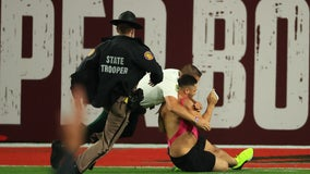 Super Bowl streaker tackled by security in the end zone ahead of Bucs win