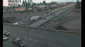 One dead in multiple vehicle crash involving jack-knifed semi-truck on southbound I-5 near Tacoma
