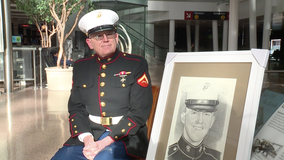 Military veteran flies across country to personally deliver portrait of fallen Marine he never met