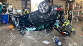 Car crashes into Woodinville building, sending 3 people to hospital