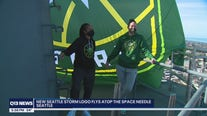 New Seattle Storm flag flies at top of Space Needle