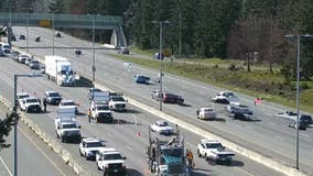 Pedestrian seriously injured after getting hit by log truck on I-5 in Lacey
