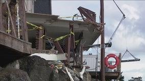 Barge pushed by tugboat hits three homes in Gig Harbor, Washington