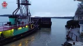 Large barge hits three homes in Gig Harbor, Washington