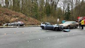 2 seriously injured in 3-vehicle Bellevue crash