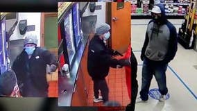 Listen to serial robbers' paint-buying ploy before terrorizing store workers at gunpoint; help ID suspects