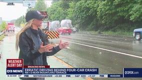 Erratic driving caused four-car crash on I-5
