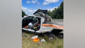 Crash involving WSDOT incident response truck reminder for drivers to 'move over' for emergency vehicles