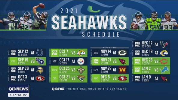 Seahawks 2021 schedule includes ten games on Q13 FOX, five prime-time games