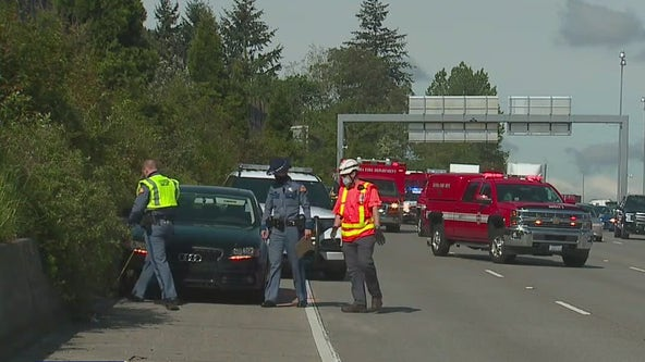 Woman arrested for vehicular homicide after hitting, killing person changing tire on I-5 in Tacoma