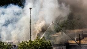 Two-alarm fire near Seattle's Space Needle sends smoke billowing into sky