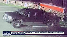 Unidentified thieves steal welder, crash stolen hay truck through gate in Carnation